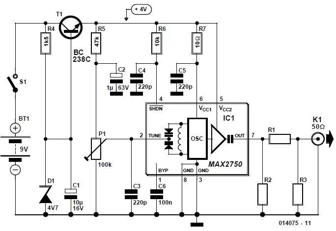2.5-GHz Signal Source Schematic Circuit Diagram