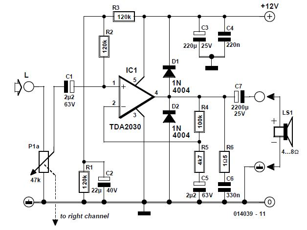 Active PC Loudspeaker Schematic Circuit Diagram