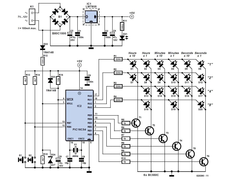 Binary Clock Schematic Circuit Diagram