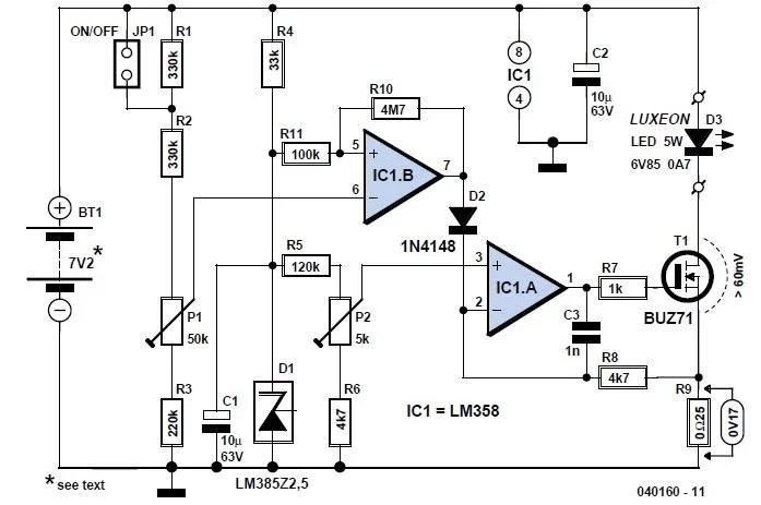 Low-drop Regulator with Indicator Schematic Circuit Diagram