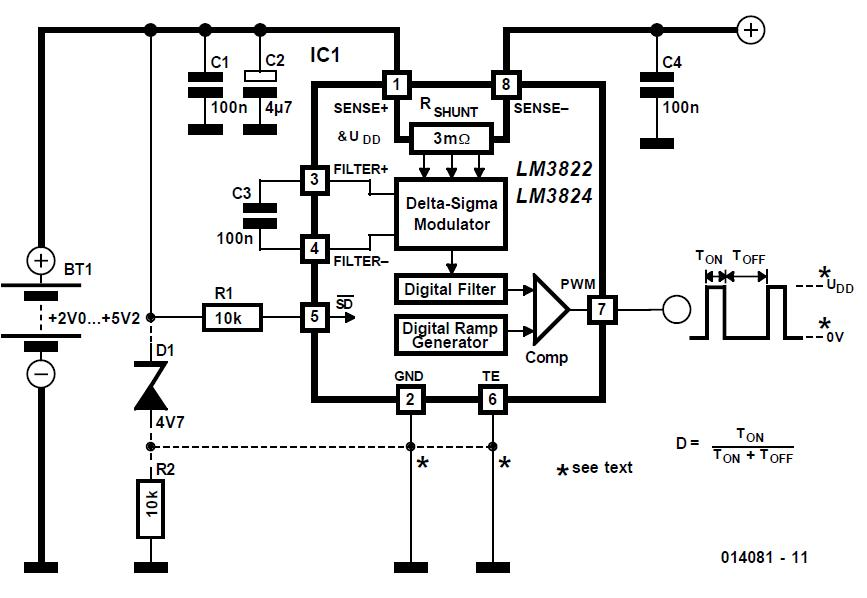 LM 3822/24 Current Meter Schematic Circuit Diagram