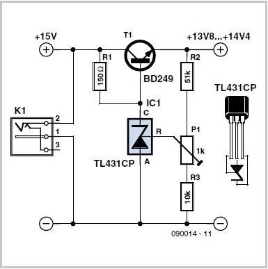 Low-drop Series Regulator using a TL431 Schematic Circuit