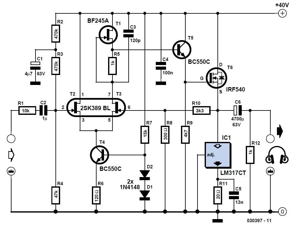 Precision Headphone Amplifier Schematic Circuit Diagram