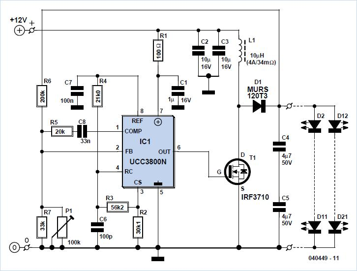 Step-up Converter for 20 LEDs R1 Schematic Circuit Diagram