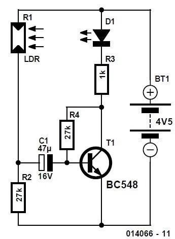 LED–LDR Blinker Schematic Circuit Diagram