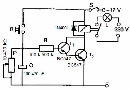 LONG TIME DELAYED TURN-OFF TIME RELAY SCHEMATIC CIRCUIT
