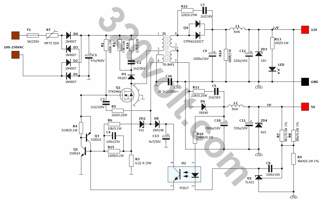 SMPS POWER SUPPLY SPP34 SCHEMATIC 12V 5V 2A SCHEMATIC