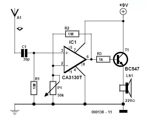 Wire Tracer (Receiver) Schematic Circuit Diagram