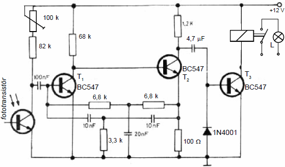 LIGHT SENSITIVE CIRCUIT WITH PHOTOTRANSISTOR SCHEMATIC