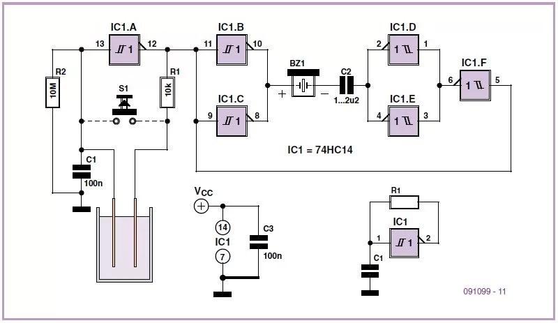 Water Alarm Schematic Circuit Diagram