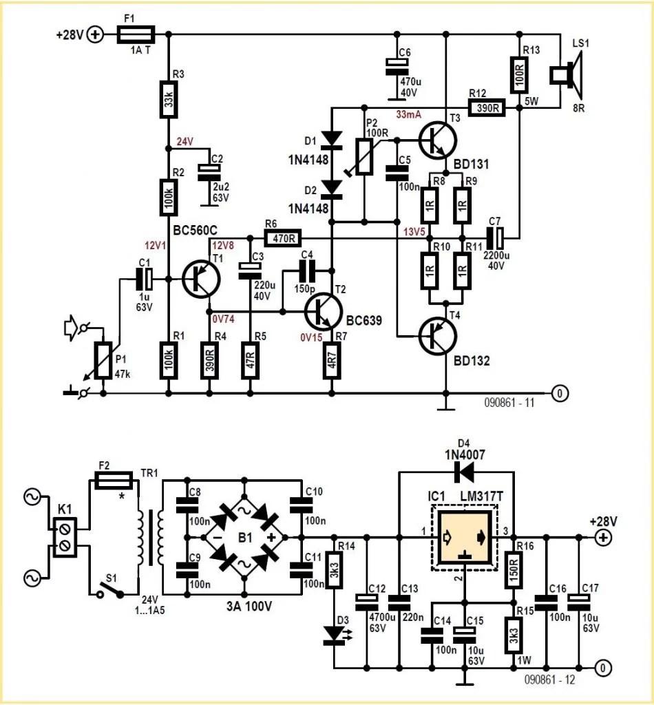 No-CA3080 Guitar Compressor Schematic Circuit Diagram
