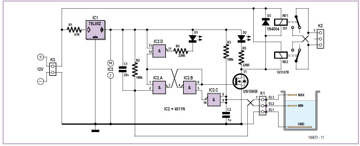 Pump Controller with Liquid Level Detection Schematic