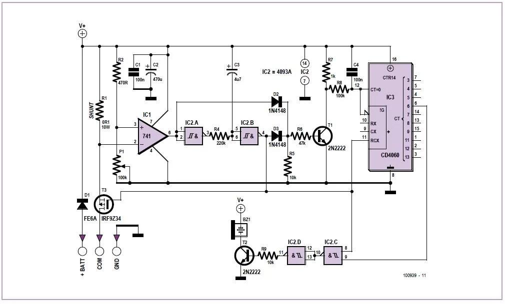 Universal 3-wire Flasher Unit Schematic Circuit Diagram