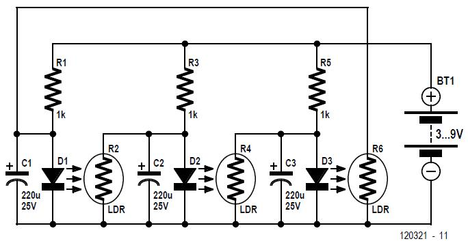 LED-LDR Ring Oscillator Schematic Circuit Diagram