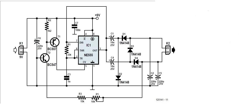 Voltage Inverter using a 555 Schematic Circuit Diagram