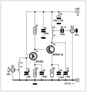 Preamplifier for RF Sweep Generator Schematic Circuit
