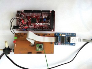 Photo 2: The Home Energy Gateway's hardware includes a Digilent chipKIT Max32 board and a custom shield board.