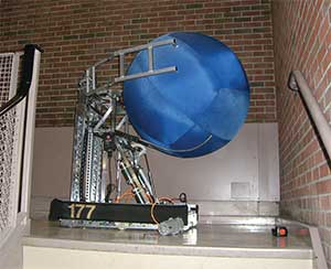 "This robot from the 2008 competition holds a 40"" diameter ball for size reference."