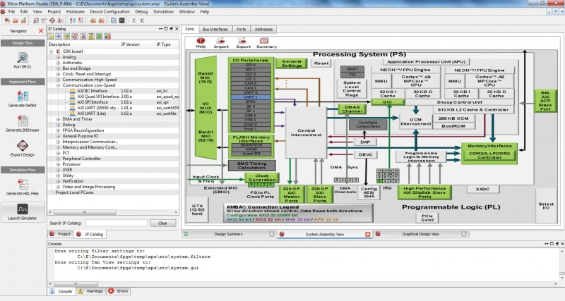 This is the main screen of the Xilinx Platform Studio (XPS) when configuring a Zynq design. On the left you can see the list of available soft-core peripherals to add to the design. You can configure any of the hard-core peripherals by choosing to enable or disable them, along with selecting from various possible I/O connections. Additional screens (not shown) enable you to configure peripherals addressing information, configure I/O connections for the soft-core peripherals, and connect peripherals to various available extension buses.