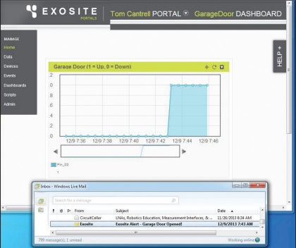 """It only takes a few minutes to set up a simple Exosite dashboard including an e-mail alert. I can """"see"""" my  garage door without getting off the couch and now, via Exosite, from the farthest reaches of the web."""