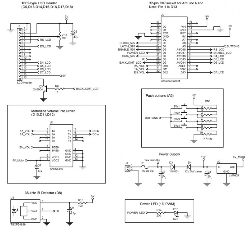 Here you see the how to set up the Arduino Nano, LCD, power supply, push button , IR and motor control circuits (Source: S. Parks)