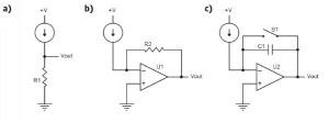 Figure 2: Current measurement circuits: resistive (a), transimpedance (b), and integrator (c)