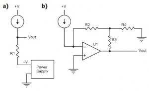 Figure 3: Modified current measurement circuits: modified resistive (a) and modified transimpedance amplifier (b)