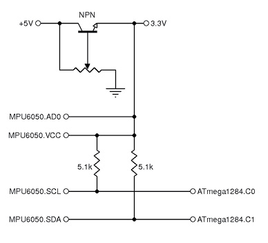 Figure 2 Here we see the schematic of the voltage regulator circuit that we created in order to obtain 3.3 V. The bottom of the schematic shows how this same regulator was used to pull up the signals at SCL and SDA.