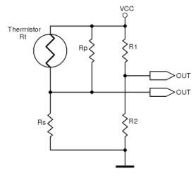 Figure 3 Wheatstone ratiometric thermistor interface