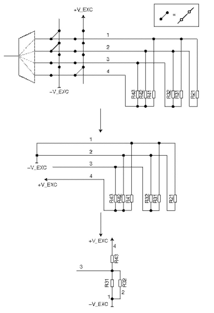 Figure 5 Example of a switch matrix configuration and the effect it has on the effective schematic