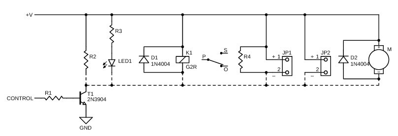 Figure 11 This NPN transistor can control a number of different devices. On the left is a simple resistive load followed by an LED, relay, piezo transducer, piezo beeper and DC motor.