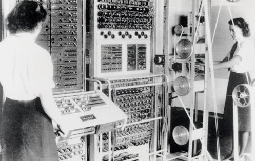 Figure 3 During World War II, special-purpose, vacuum-tube, digital computers such as Colossus were used to break German and Japanese ciphers. The military intelligence gathered by these systems was essential to the Allied war effort. Each Colossus used between 1,600 and 2,400 vacuum tubes [3].