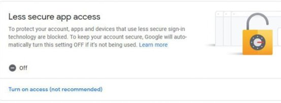 Figure 6 When setting up an independent Gmail address for this project, you must allow access to less secure apps. This is the screen you will see when setting this.