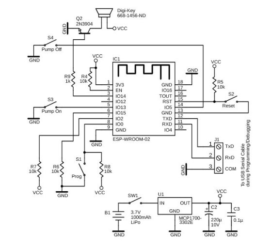 Figure 9 Schematic of the irrigation pump remote control module. It controls power to the irrigation pump.  I carry it around in my pocket when I am out watering the gardens around my property.