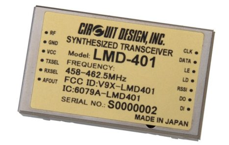 Figure 7 The LMD-40 is a compact integrated module with the long-range transmission and excellent interference rejection characteristics demanded for today's battery-operated devices such as drones. Users can set operating frequencies in 12.5kHz steps within the 458MHz to 462.5MHz band, now with improved RF output flatness up to 10mW.