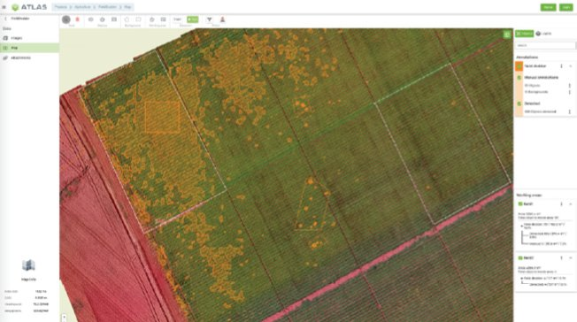 Figure 9 ATLAS is an AI-driven digital platform for precision farming insights based on drones, aerial satellite data and the use of AI detectors.