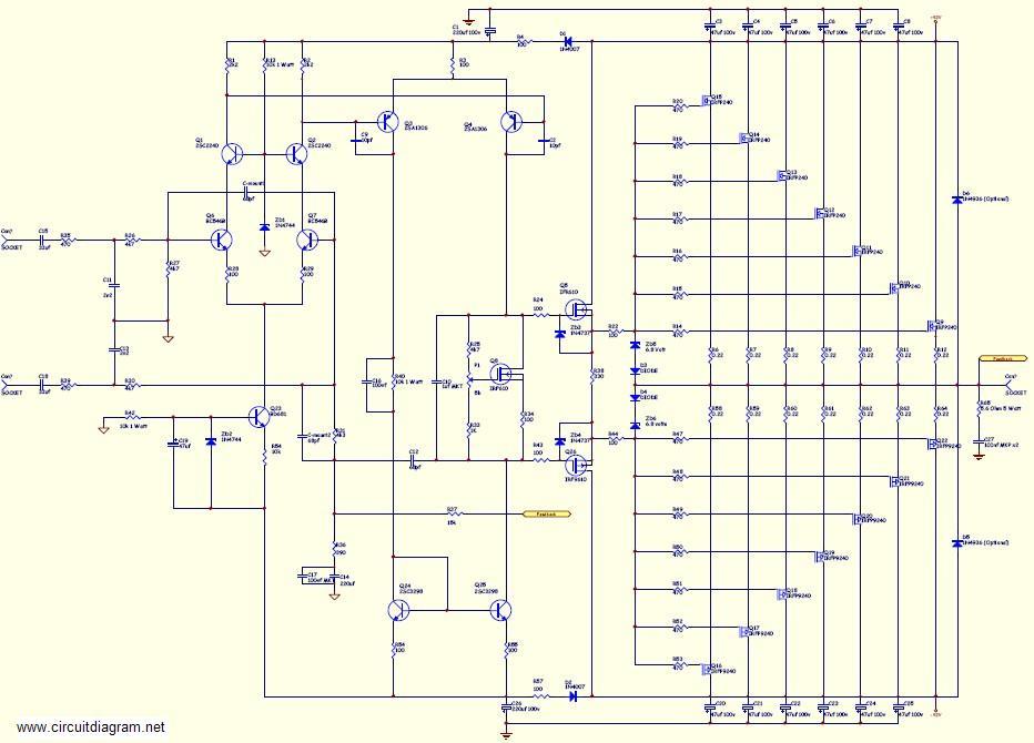 800W Audio Amplifier with MOSFET  Schematic Design