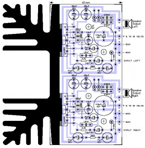 stereo 20w amplifier TDA2005 PCB