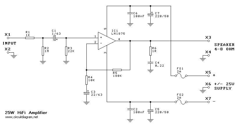 25W Hi-Fi Audio Amplifier based LM1875