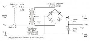 35V Symmetrical Power Supply