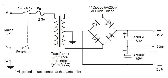 35V Symmetrical Power Supply Circuit