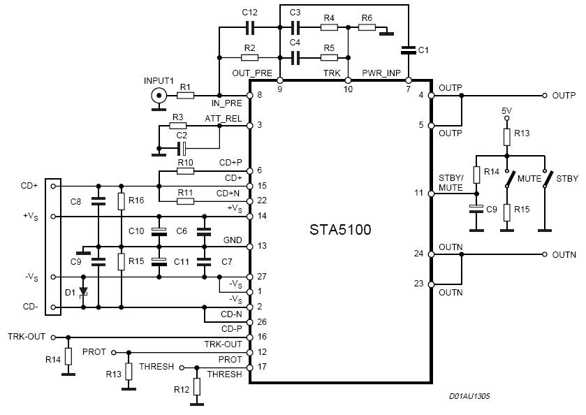140W Power Amplifier Circuit Electronic STA5100