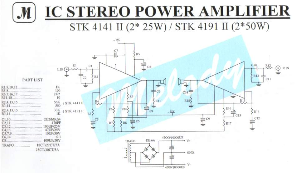 2x25W Stereo Power Amplifier with STK4141II  Schematic Design