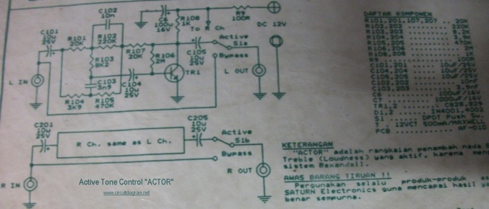 Active Tone Control circuit electronic