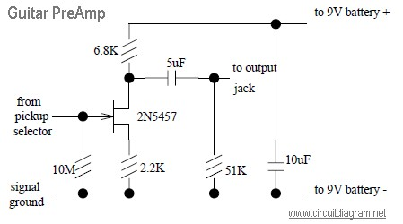 Guitar Preamp Design on Simple Schematic Diagram