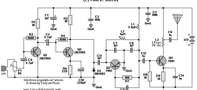FM transmitter Circuit with 4 Transistors