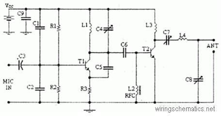 4 Watts FM transmitter Circuit Diagram
