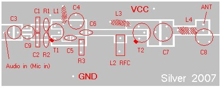 4w FM Transmitter - top component placement