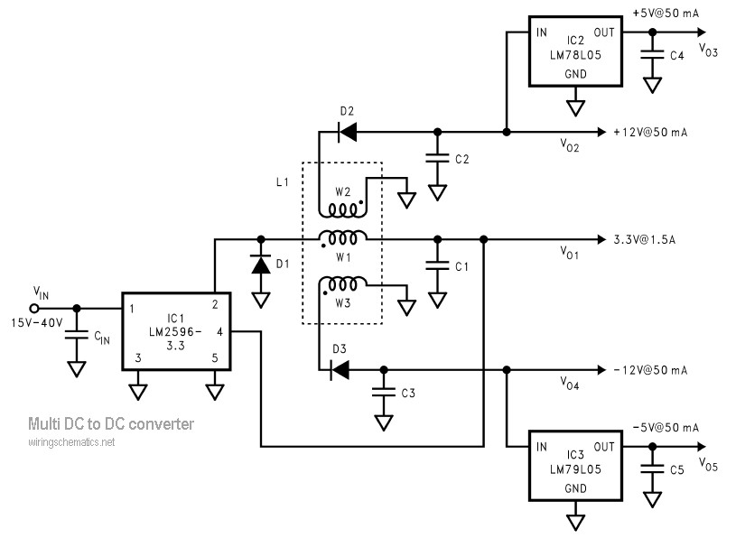multi output dc to dc converter schematic design. Black Bedroom Furniture Sets. Home Design Ideas
