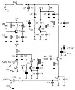 Audio/Video to UHF TV Signal Converter (Modulator) circuit